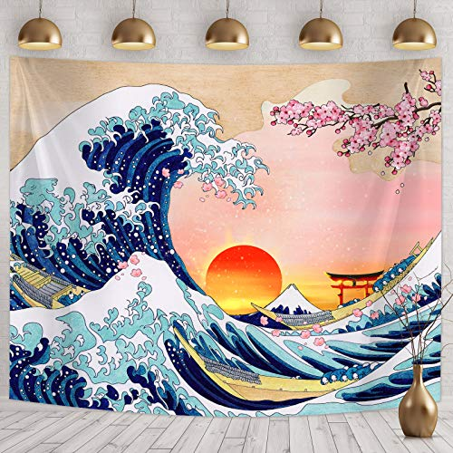 Tapiz Japonesa Colgante de Onda de Pared Tapiz de Pared de Gran Ola Decoración de Pared de Ola de Kanagawa con Arte Naturaleza de Puesta de Sol Flor de Cerezo (78,7 x 59,1 Pulgadas)
