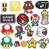 Parches de planchado para videojuegos de Super Mario Bros, parches bordados, parches para coser en ropa, chaquetas, mochilas, vaqueros, 17 piezas
