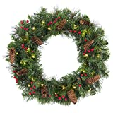 Best Choice Products 24in Pre-Lit Spruce Christmas Wreath w/ 50 LED Lights, Silver Bristles, Pine Cones, Berries