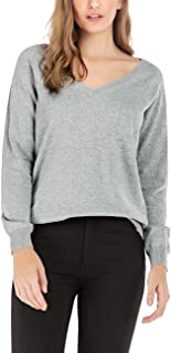 Women's Cotton Deep V Neck Sweater Relaxed Fit Soft Knit Long Sleeve Basic Pullover for Fall Winter