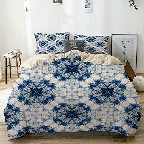 MANISENG Parure de lit,Beige,Impression d'art Tribal de Teinture Effet tie décrit des Formes bizarres et brumeuses au Design à axe symétrique,1 Housse de Couette 240x260 + 2 Taies d'Oreillers