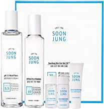 ETUDE HOUSE Soonjung Skin Care 2 Set (Free Toner + Emulsion + Cream) - Hypoallergenic Skin Soothing and Moisturizing Skincare for Sensitive Skin