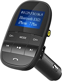 FM Transmitter, Nulaxy V4.2 Bluetooth FM Transmitter, Wireless FM Radio Car Bluetooth Adapter (KM21-Black)