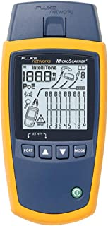 Fluke Networks MS2-100 MicroScanner2 Copper Cable Verifier with Built-In IntelliTone Toning, Troubleshoots RJ11, RJ45, Coa...