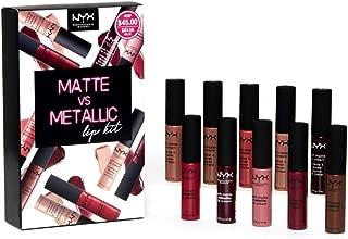 NYX PROFESSIONAL MAKEUP Lipstick Set 10-Piece Soft Matte Lip Cream Matte vs Metallic Lip Kit