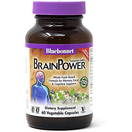 Bluebonnet Nutrition Targeted Choice Brain Power, Memory, Focus & Cognitive Support Whole Food-Based Formula, Brain Health, Soy & Gluten-Free, Non-GMO, Vegan, Beige, 60 Count