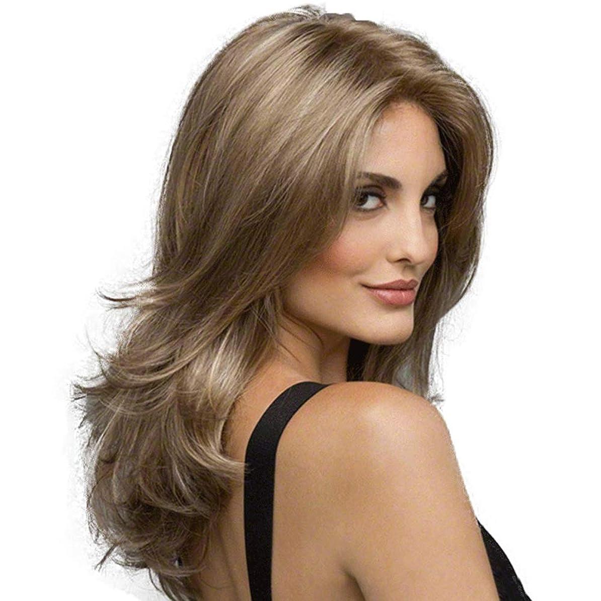 プランテーション豊富冷蔵庫女性の長い巻き毛の波状の髪のかつら22インチ魅力的な自然な人間の髪のかつら熱にやさしい人工毛交換かつらハロウィンコスプレ衣装アニメパーティーかつら (Color : Linen brown)