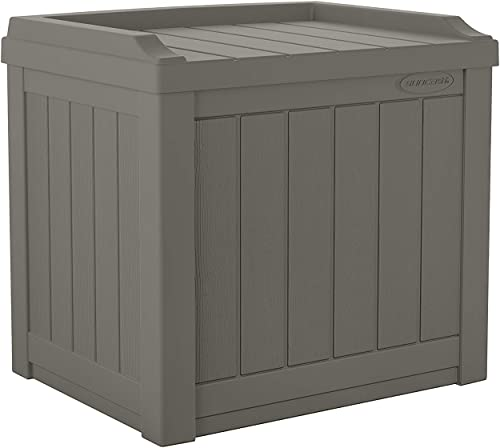 Suncast 22-Gallon Small Deck Box - Lightweight Resin Indoor/Outdoor Storage Container and Seat for Patio Cushions and...