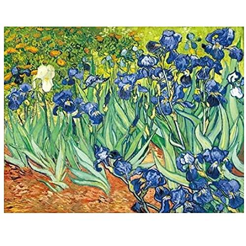 "zxianc Immagini su Tela Van Gogh Iris Fiori Dipinti Tela Pittura Poster e Stampa Arte muraria Pictures for Living Room Poster 80x120cm/31.4""x47.2"" Senza Cornice"