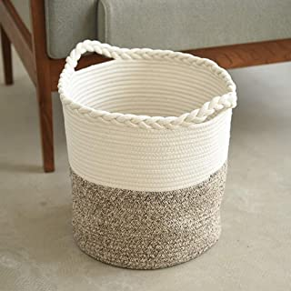 Drawihi Cotton Rope Basket Small Woven Storage Baby Nursery Room Toy Chest Box With Handles Basket-Brown