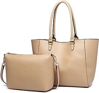 Miss Lulu Handtaschen 2 Stück Set Damen Umhängetasche Designer Schultertasche Hobo Taschen Groß Apricot