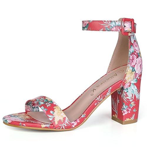 4b9de105ccd Allegra K Women s Floral Ankle Strap Block Heel Sandals