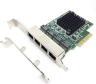 Glotrendos PCI Express 2.0 X4 a 4 Puertos RJ45 Gigabit Ethernet Tarjeta de Red LAN/Controlador 4 Chips RTL8111G en el Interior para PC de Escritorio con Soporte de Perfil bajo (8204 X4)