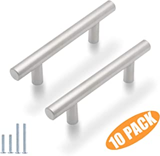 Probrico 3 inch Hole Centers Euro T Bar Cabinet Pulls Stainless Steel Kitchen Drawer Handles(10 Pack)