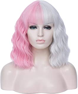 Hairpieces Women Cosplay Wig Black and Pink Red Orange Green Purple Blue Two-Color Stitching Short Curly Ombre Two Tone Sy...