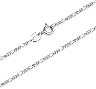 1.5mm 925 Sterling Silver Italian Figaro Chain Necklace 14-30 inch
