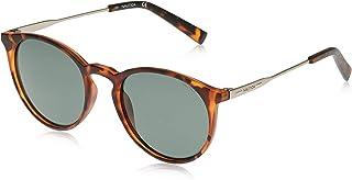 نظارة شمسية للرجال باطار دائري من نوتيكا مع شعار مطبوع بتقنية ليزرية، بلون تورتويس داكن مطفي