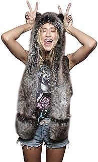Winter Warm Faux Fur Animal Hat Cartoon Full Animal Faux Fur Hoodie Hat Mitten Scarf Faux Fur Warm Soft Furry hat as a Gift
