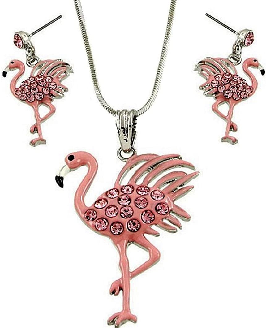 DianaL Boutique Beautiful Pink Flamingo Pendant Necklace and Earrings Set 21