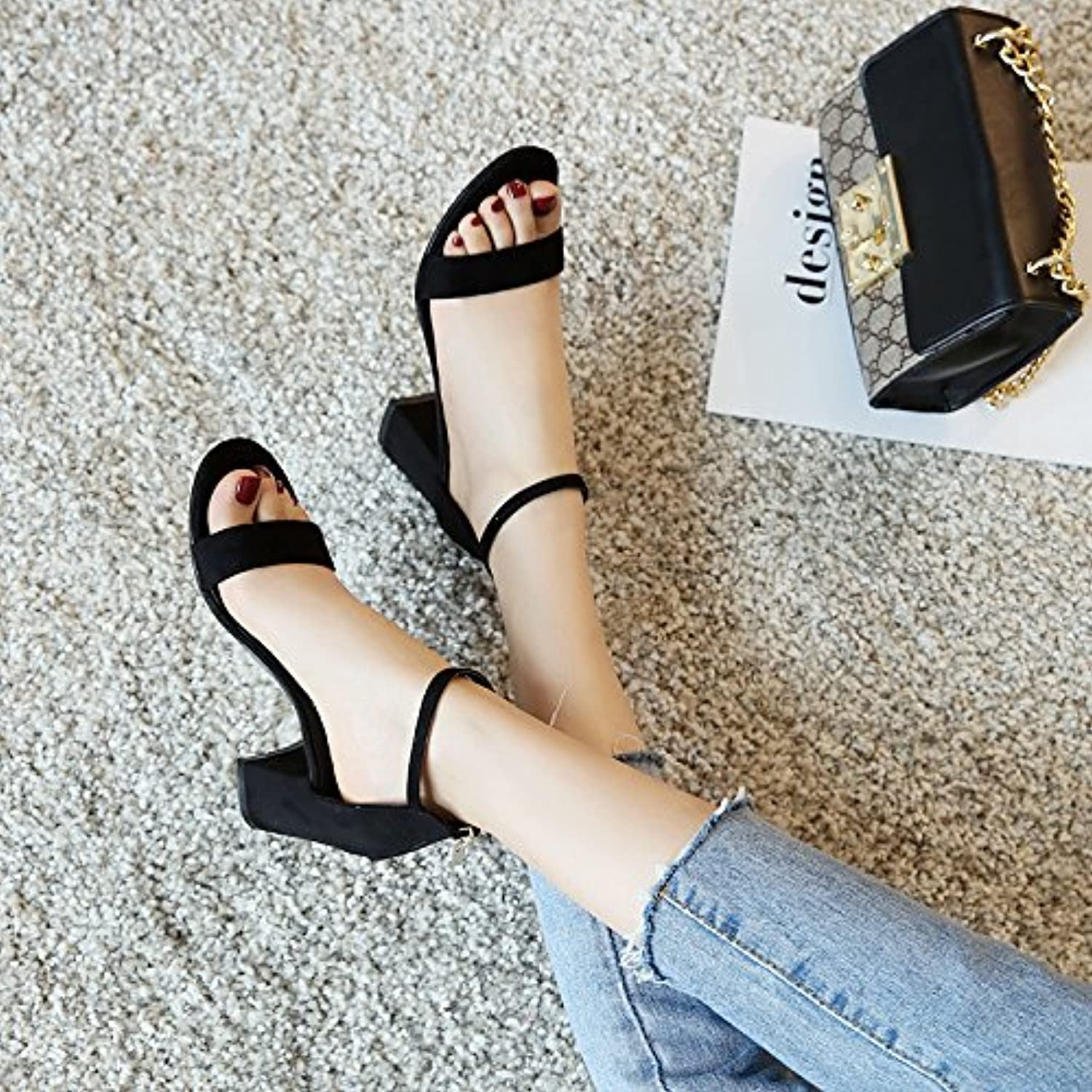 High heel show in The Summer Sandals Female Heels 2017 New Summer All-Match Word Buckle Thick MS. Rome Sandals shoes