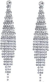 Silver Teardrop Crystal Long Tassels Dangle Earrings Sparkling Rhinestone Ladies Gifts