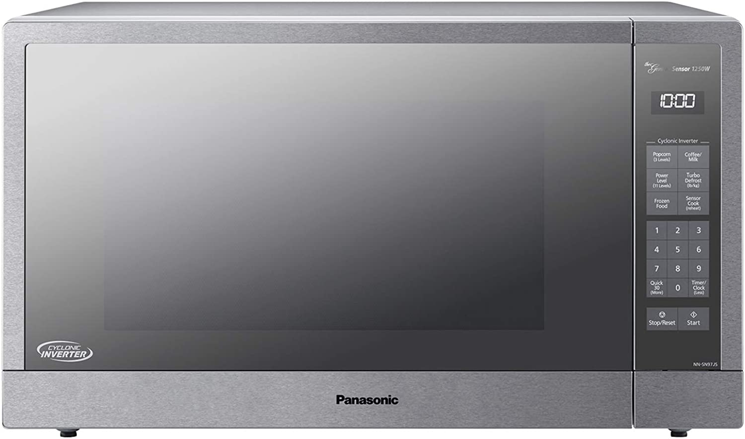 Panasonic Microwave Oven, Stainless Steel Countertop Built-In Cyclonic Wave with Ingreener Technology and Genius Sensor, 2.2 Cu. Ft, 1250W, NN-SN97JS (Silver)