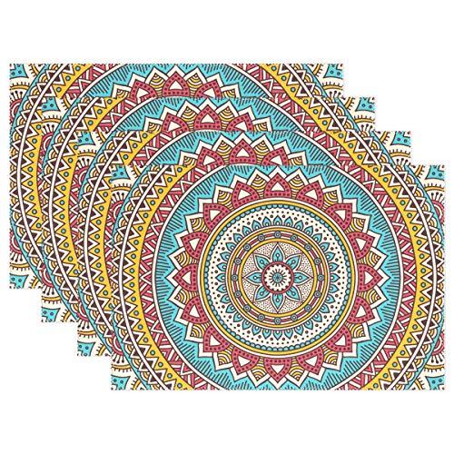 Mnsruu Ornamen Mandala - Juego de 6 manteles de Mesa de Comedor Antideslizantes Resistentes al Calor para decoración de Navidad, Regalos para el hogar, Cocina, Oficina y al Aire Libre