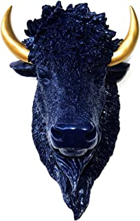 Near and Deer BIH6553 Faux Taxidermy Bison Head Wall Mount, Navy Blue/Gold