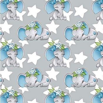 Pingianer - Tela de algodón para niños, 100% algodón, por metros, para coser a mano, Elefante estrellas azul, 100x160cm (11,99€/m): Amazon.es: Hogar