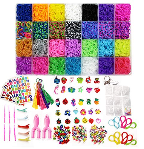 11101 Loom Bands Kit: 10300 Mixed 29 Color Bands,202 Beads,20 Pendants,500 Clips,30 Charms,10 Backpack Hooks,10 Tassels,5 Hair Clips,6 Crochets,2 Y Looms,4 Stickers,2 Key Chains,10 Rings by BlinkOne