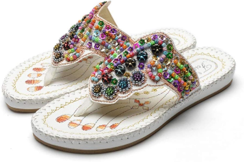 MEIZOKEN Women's Beach Flip Flops Colourful Beading Bohemian Sandals Wedge Flat Slipper