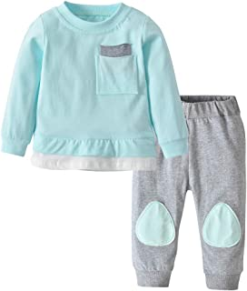 Newborn Baby Boys Girls Clothes Long Sleeve T-Shirt Tops Pants Outfit Set