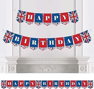 Big Dot of Happiness Cheerio, London - British UK Birthday Party Bunting Banner - Birthday Party Decorations - Happy Birthday