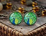 Pernos de pavo real antiguos, pendientes de cristal de la cúpula del arte, la cola de pavo real, un pavo real en su orgullo, pendientes, cabujón de cristal,