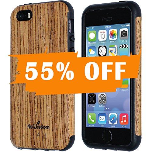 NeWisdom iPhone 5s 5 se Case Wood Suitable for Apple iPhoneSE iPhone5 iPhone5S Non Slip Unique Cover Teakwood