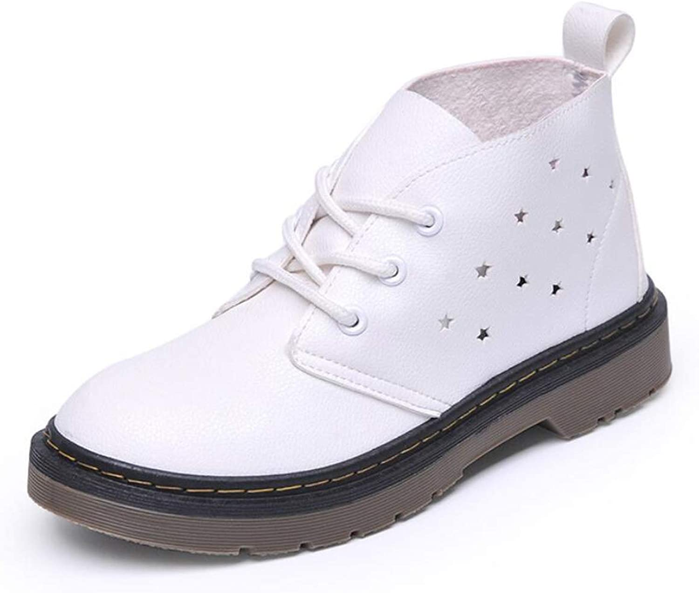 DANDANJIE Women's Martin Boots Flat Heel Cutout Breathable Student Boots