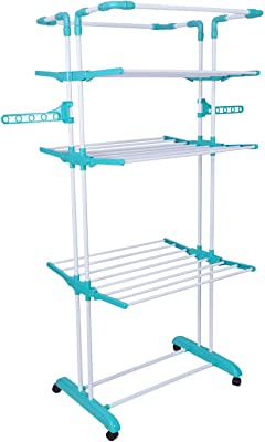 KK Double Pipes Supports Drying Stand with Wheels (Blue) Stainless Steel Floor Cloth Dryer Stand (multicolor)