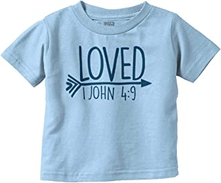 Brisco Brands Loved Bible Verse Christian New Baby Gift Infant Toddler T Shirt