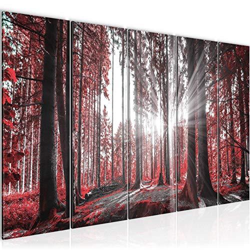 Bilder Wald Landschaft Wandbild 200 x 80 cm Vlies - Leinwand Bild XXL Format Wandbilder Wohnzimmer Wohnung Deko Kunstdrucke Rot 5 Teilig - MADE IN GERMANY - Fertig zum Aufhängen 503855c