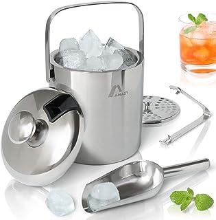 Amazy Cubitera Hielo de Acero Inoxidable (1,3 L) - Incl. Tapa, pinzas, pala y escurridor – Cubitera ideal para hielo. Cubitera profesional para bebidas y alimentos.