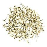 freneci 200pcs Mini Gold Iron Brad Paper Fasteners for Scrapbooking Craft Decoration