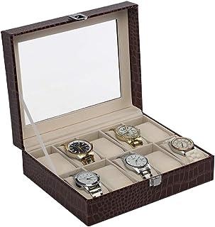 Lwieui Caja de Reloj Caja de Reloj de Cuero de la PU de 10 Ranuras con el Soporte Ideal para los Hombres Caja de Almacenam...