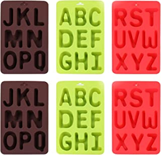 Lawei 6 Pack 26 Letters Silicone Alphabet Trays Mold - Silicone Letter Mold Baking Mold for Cake, Candy, Ice Cube