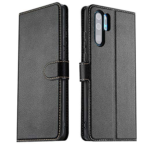 ELESNOW Hülle für Huawei P30 Pro, Premium Leder Klappbar Wallet Schutzhülle Tasche Handyhülle für Huawei P30 Pro (Schwarz)