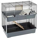 Feplast Jaula de Dos Pisos para Conejos Rabbit 100 Double, Casa para pequeños Animales, Conejera con Accesorios incluidos, de Alambre Pintado Negro y plástico, 99 x 51,5 x h 92 cm, Mediano (57046817)