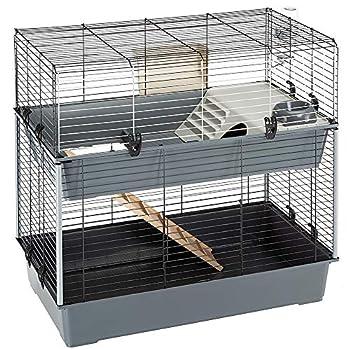Ferplast Cage à 2 Étages, Clapier avec Accessoires Inclus, en Métal Vernis Noir et en Plastique pour Lapins, Maisonnette pour Petits Animaux, 99 x 51,5 x 92 cm