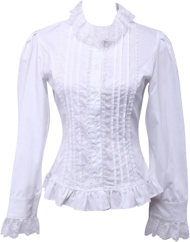 Hugme White Lace Long Sleeves Lolita Cotton Blouse