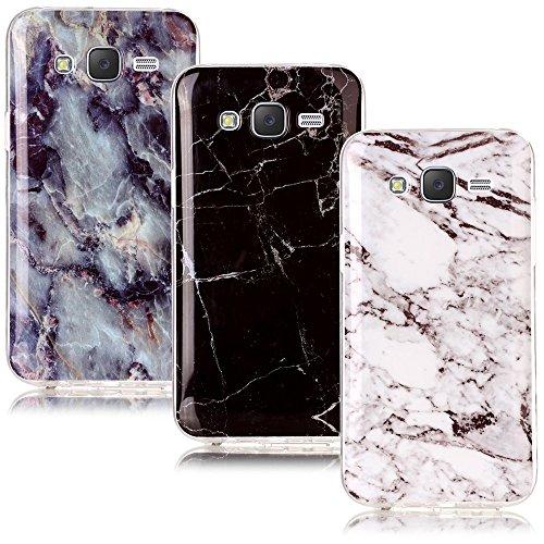 CLM-Tech 3in1 Accessori Set: 3 x Custodia in TPU Gomma per Samsung Galaxy J5 (2015) Case Gel Marmo Modello Nero/Bianco/colorato Cover