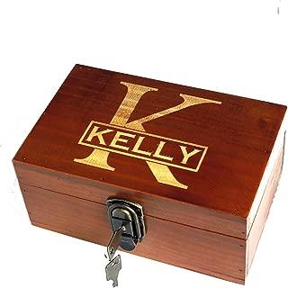 Awerise Personalized Wooden Keepsake Box w Lock Key, Custom Jewelry Box, Bridesmaid Box, Mother Girlfriend Gift