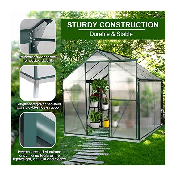 July's song greenhouse,polycarbonate walk-in plant greenhouse with window for winter,garden green house kit for backyard… 3 【extend the growing season】perfect for a first-time or seasoned home gardener, july's song walk-in greenhouses protect plant against rough weather. You can make sure that your plants are healthy and happy all year round. 【sturdy & durable】this diy greenhouse kit is made of 4mm twinwall uv/wind resistant polycarbonate panels and thickened premium aluminum frame,all this together with heavy-duty galvanized base help provide solid support for your entire plant nursery. 【multi-function design】the greenhouse for outdoor has sliding doors for easy access, roof vent for effortless ventilation, and rain gutters for effective drainage of water and snow.